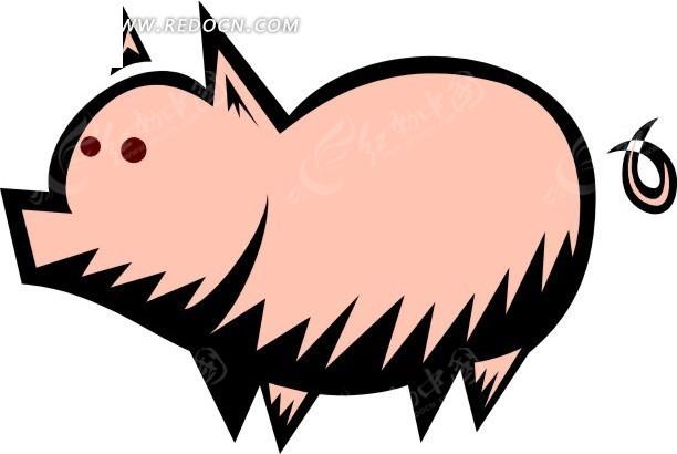 儿童手绘可爱的小猪矢量图