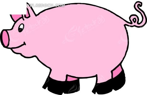 儿童手绘粉红色的小猪