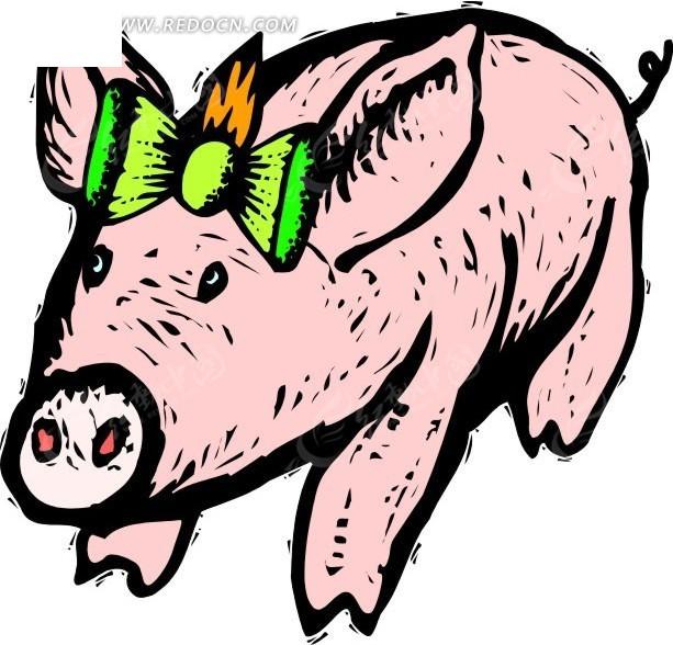 儿童手绘头上戴蝴蝶结的小猪