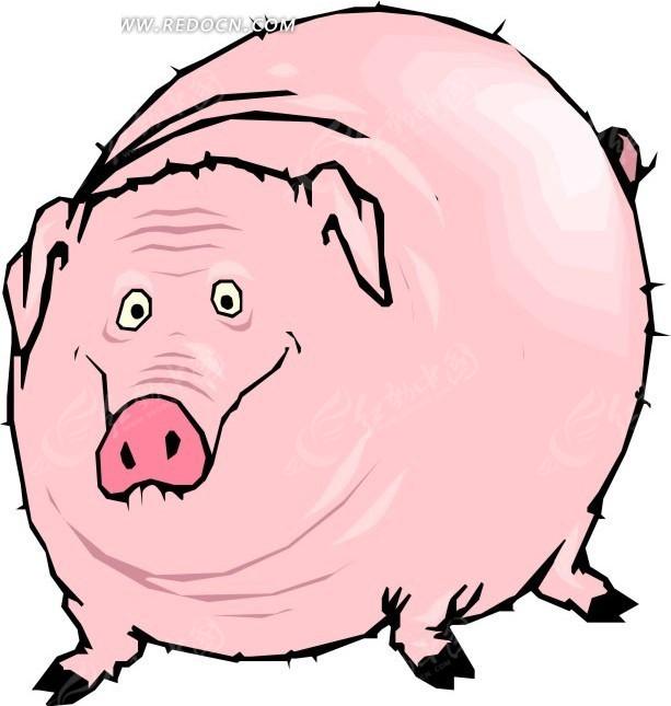 儿童手绘粉红色的大肥猪矢量图