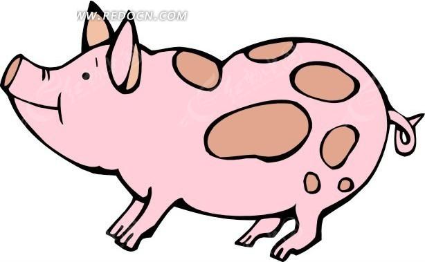 可爱的小猪手绘素材矢量图