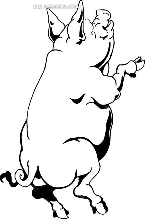 免费素材 矢量素材 生物世界 陆地动物 手绘黑色线描双腿直立的猪  请