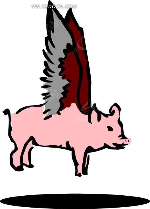 长翅膀的猪卡通形象图片