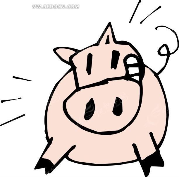 抽象  卡通猪  手绘  插画
