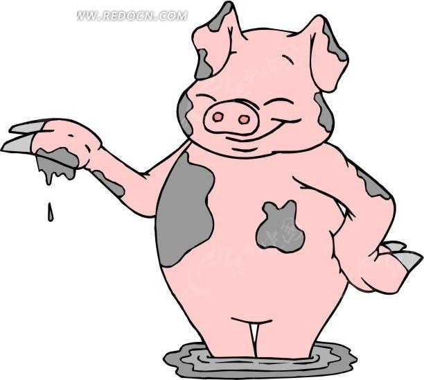 手绘彩蛋小猪图片
