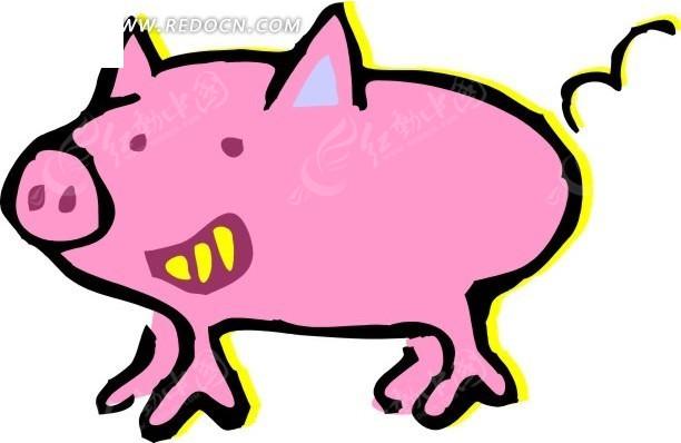 手绘小猪卡通画