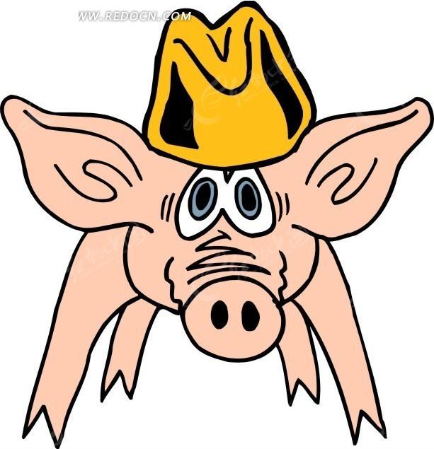带帽子的猪卡通画