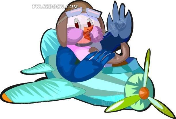 开飞机的鸟卡通画