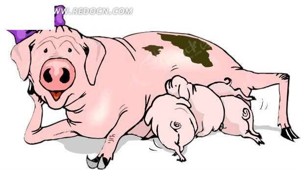猪妈妈_猪妈妈与猪宝宝卡通形象