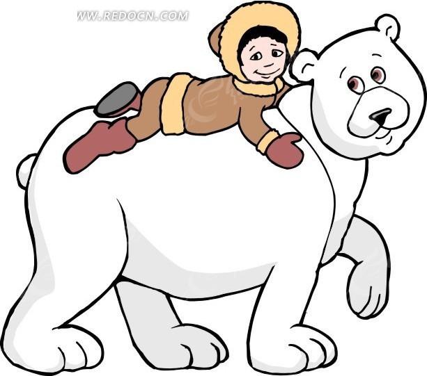 手绘趴在北极熊身上的女孩