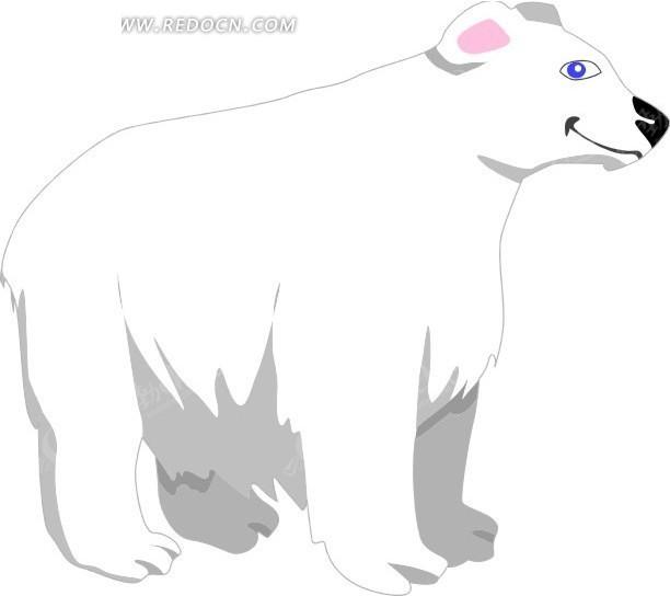 手绘可爱的一只北极熊