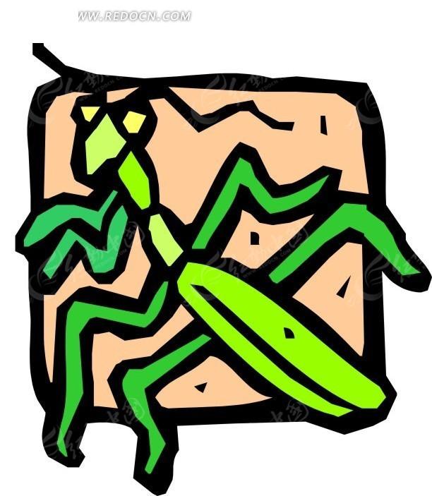 手绘简单的螳螂图案矢量图