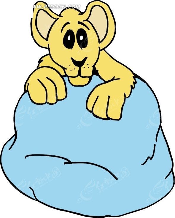 一只可爱的黄色小狮子手绘素材