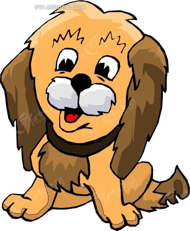 蹲坐在地上的小狗手绘素材图片