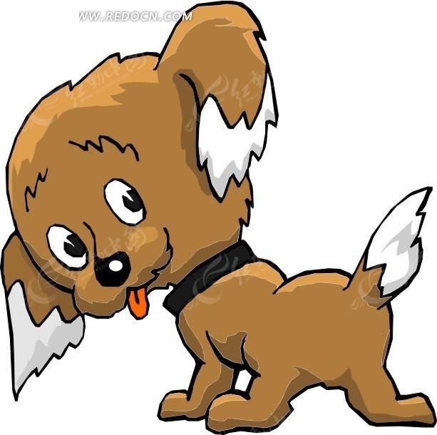 吐出舌头的小狗手绘素材其他免费下载_红动网