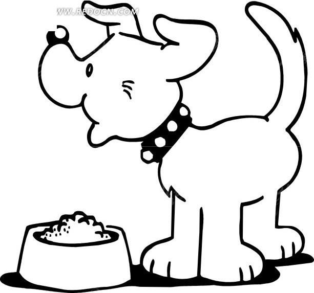 狗食盘边的小狗手绘素材图片