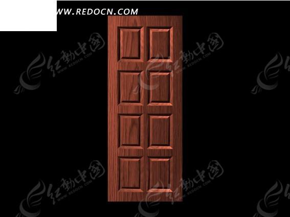红色欧式八方格雕刻门