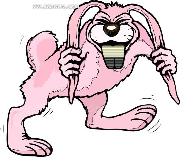 儿童手绘抓着耳朵的粉色兔子其他免费下载