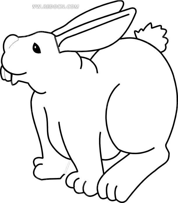 手绘线描兔子图案矢量素材
