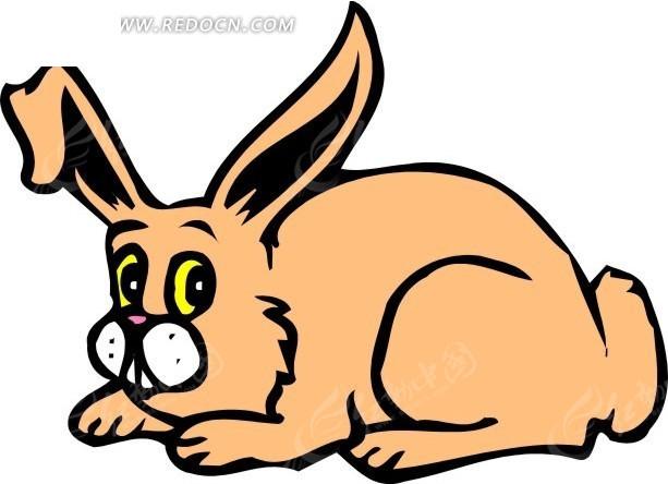 儿童手绘趴在地上的小兔兔