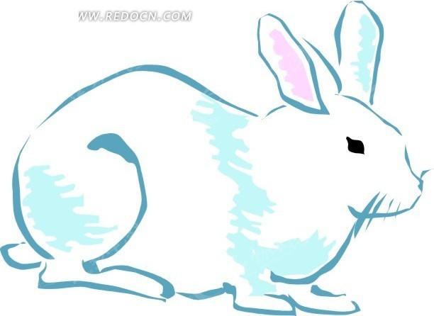 儿童手绘一只大白兔 陆地动物矢量图下载 1700759