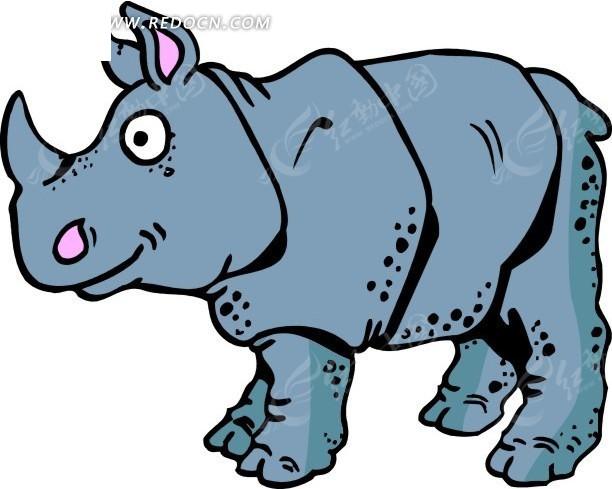 儿童手绘一只可爱的犀牛矢量图_陆地动物