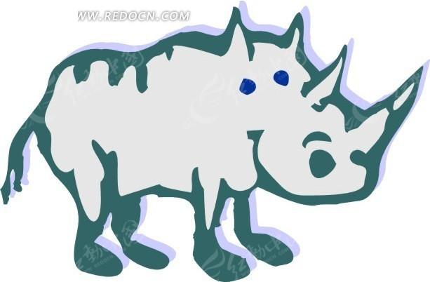 儿童手绘犀牛矢量素材