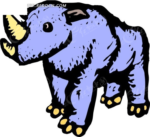 儿童手绘一只蓝色的犀牛