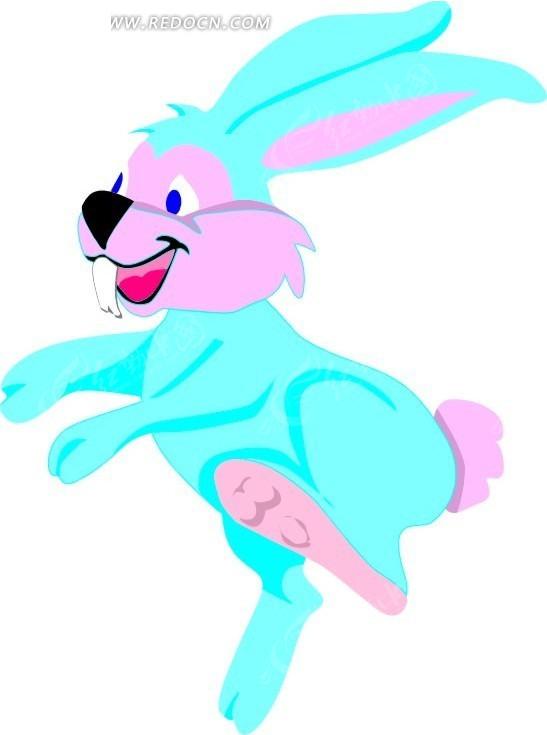 免费素材 矢量素材 生物世界 陆地动物 手绘蹦蹦跳跳的小兔子  请您分