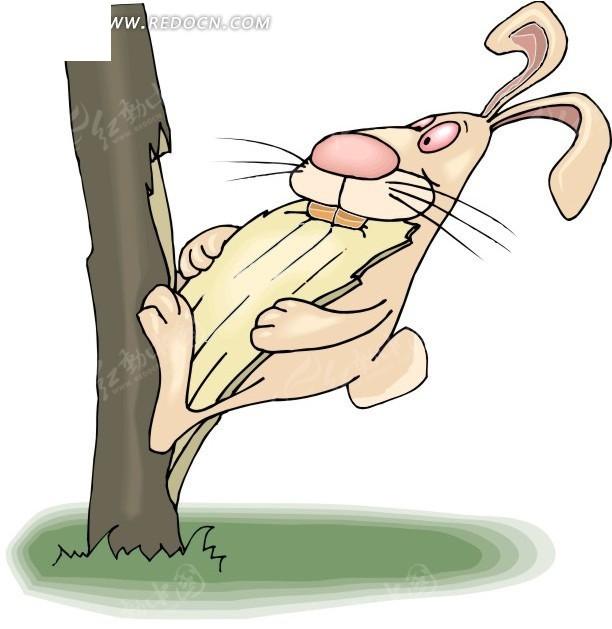 咬树皮的小兔子手绘素材图片