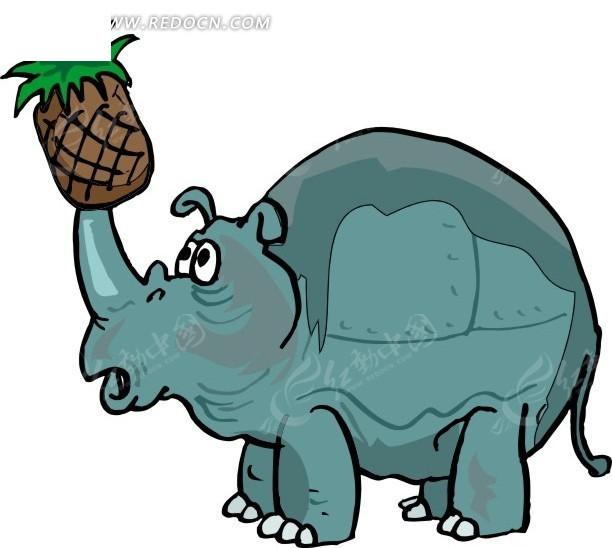 角上插着菠萝的犀牛卡通画其他免费下载_陆地动物素材
