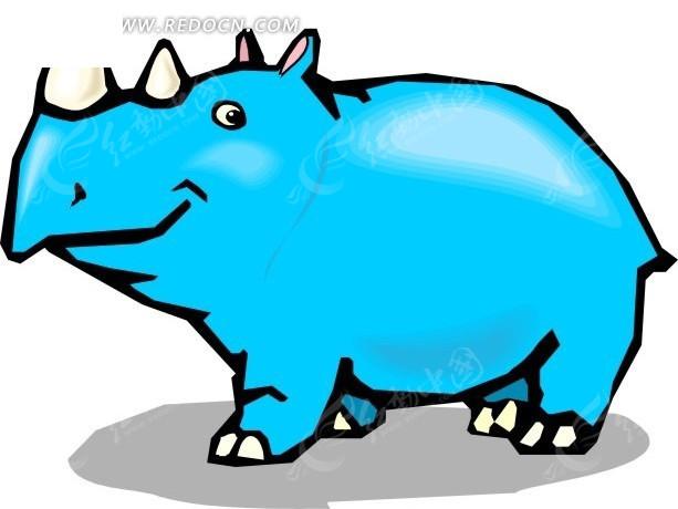 手绘蓝色的犀牛矢量素材
