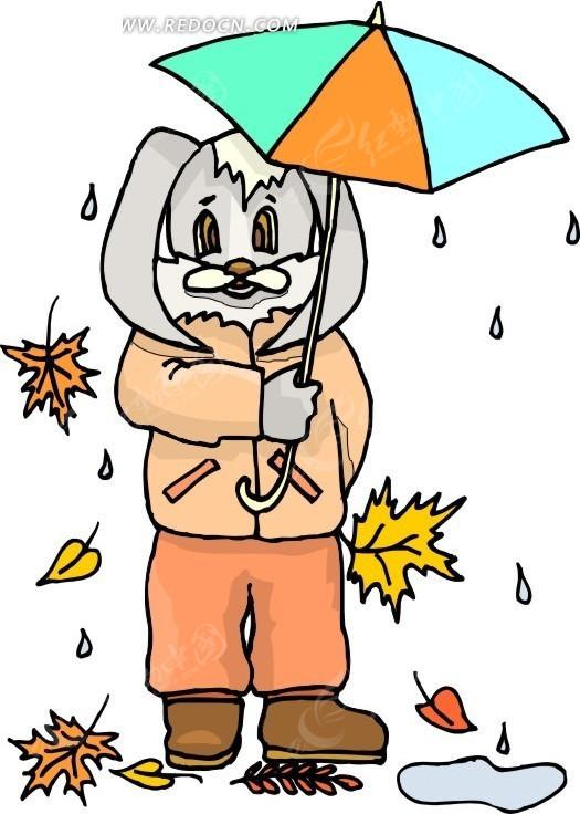 手绘打着雨伞的小兔子矢量图
