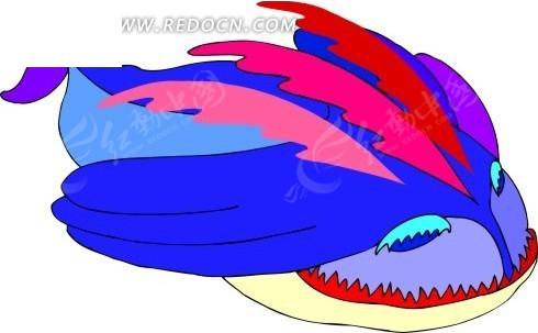 手绘抽象鲸鱼图片