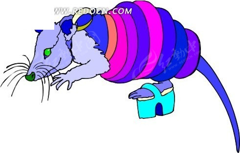手绘老鼠抽象组合图案