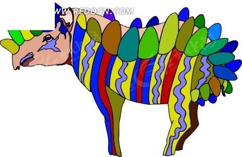 抽象 犀牛 卡通动物 卡通画 插画 手绘 矢量素材 动物图片 卡通形象