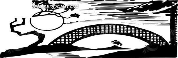 拱形桥简笔画-月下拱形桥矢量图 交通工具
