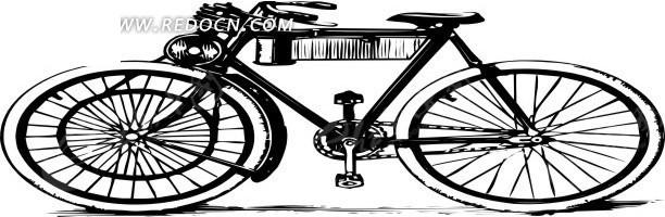 线描简笔画自行车
