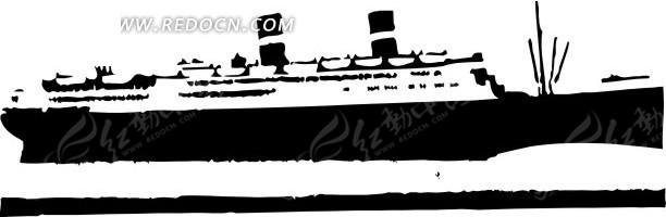 手绘黑白色轮船其他免费下载