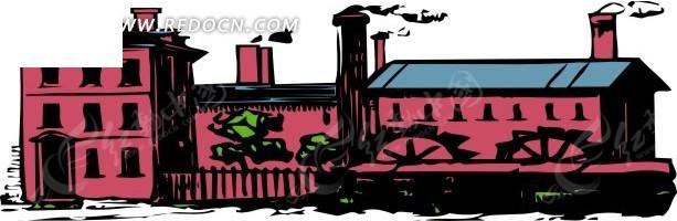 手绘火车流动房屋矢量图_交通工具