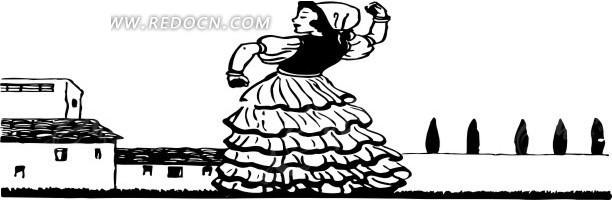 手绘跳舞的女人