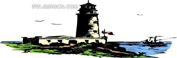 手绘海边的黄色灯塔