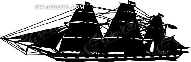 手绘黑色的帆船矢量图其他免费下载_交通工具素材