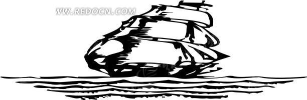 线描简笔画帆船