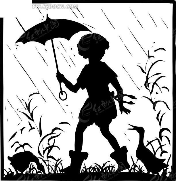 一个人打伞简笔画::雨中打伞的简笔画::灯笼简笔画