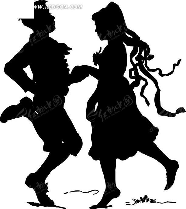 跳舞的帅哥和美女剪影矢量图