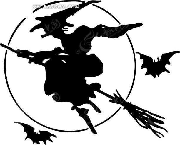 女巫 蝙蝠 人物剪影 卡通画 插画 手绘 矢量素材 人物图片 矢量人物