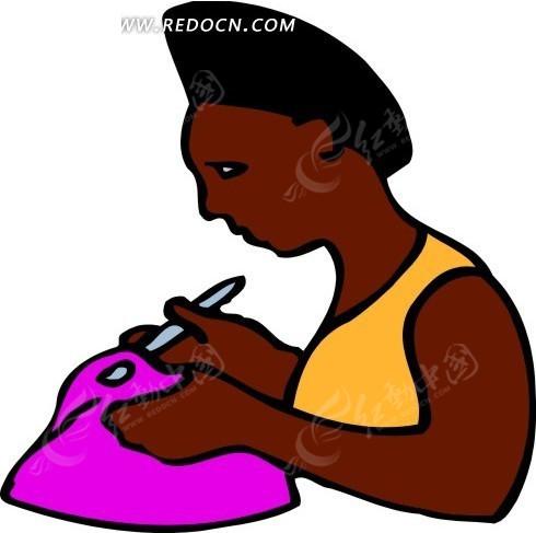 穿洞  修整 陶泥壶 挽手 黑人女性 手绘  生活图片 人物素材 人物图片