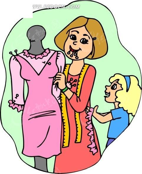 正在设计衣服的卡通人物