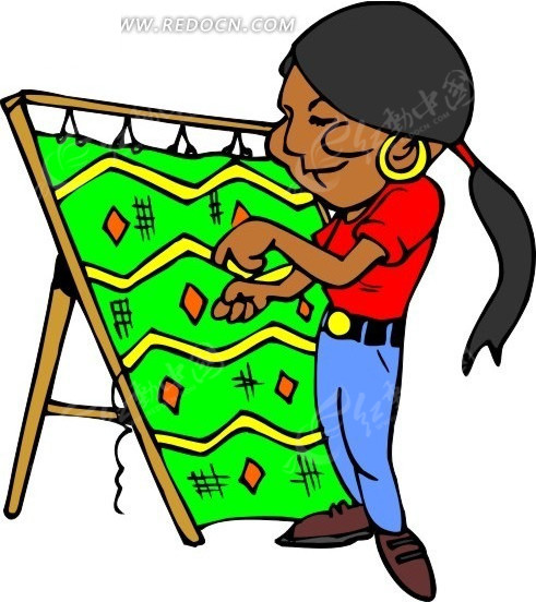 手绘纺织地毯的墨西哥女性